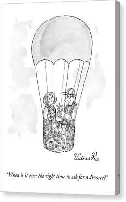 A Man Asks A Woman In A Hot-air Balloon Canvas Print by Victoria Roberts