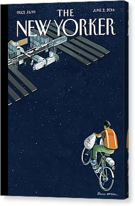 A Man Delivers Food To A Space Station Canvas Print