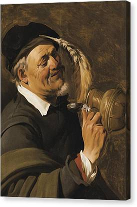 A Man Drinking From An Earthenware Flagon Canvas Print by Celestial Images