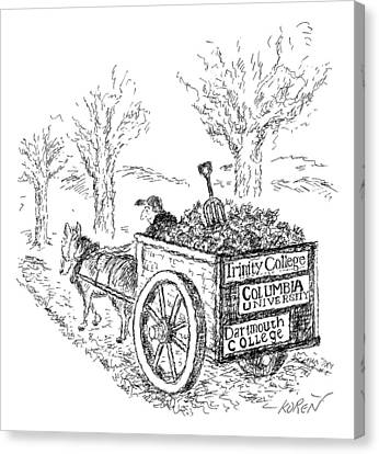 A Man Drives A Horse-drawn Cart With Bumper Canvas Print by Edward Koren