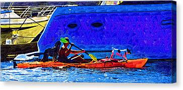 A Man His Kayak And His Dogs Canvas Print by Kirt Tisdale