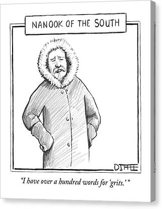 A Man In An Eskimo Coat Canvas Print