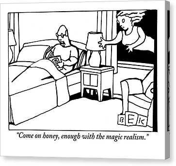 A Man In Bed Speaks To His Wife Who Is Floating Canvas Print
