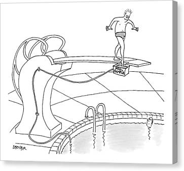 A Man Is On A Diving Board Above A Pool. He Dips Canvas Print by Jack Ziegler