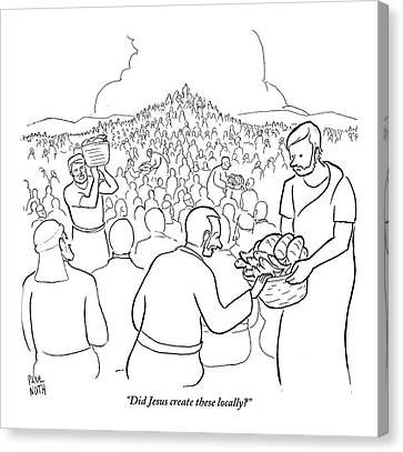 A Man Is Passing Out Loaves And Fish To A Large Canvas Print by Paul Noth