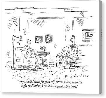 Medication Canvas Print - A Man Is Seen Sitting And Talking by Barbara Smaller