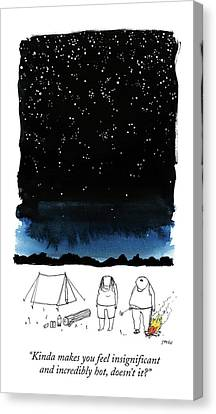 A Man Looks Up At The Night Sky Canvas Print by Edward Steed