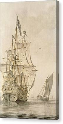 Water Vessels Canvas Print - A Man-o-war Under Sail Seen From The Stern With A Boeiler Nearby by Cornelius Bouwmeester