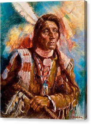 First Americans Canvas Print - A Man Of Peace by Ellen Dreibelbis