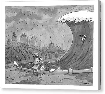 Toy Boat Canvas Print - A Man Playing With A Remote-controlled Boat by Jason Patterson