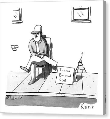 Signed Canvas Print - A Man Sits With A Saw Next To A Sign That Reads by Zachary Kanin