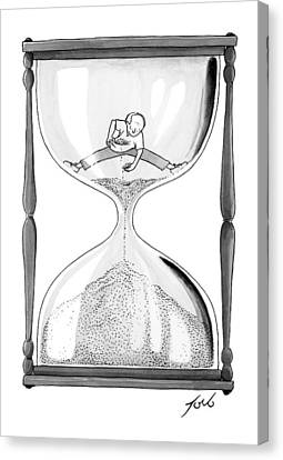 Aging Canvas Print - A Man Stands In The Top Half Of An Hourglass by Tom Toro