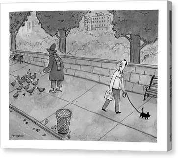 A Man Walking His Dog Sees A Mysterious Figure Canvas Print