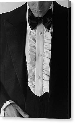 A Man Wearing A Tuxedo Canvas Print by Peter Levy
