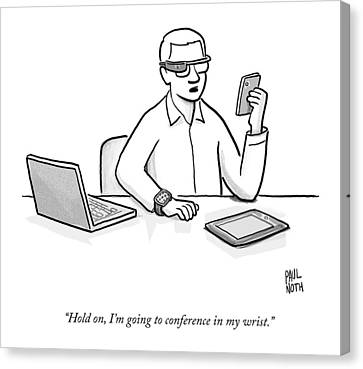Chat Canvas Print - A Man Wearing Google Glasses by Paul Noth