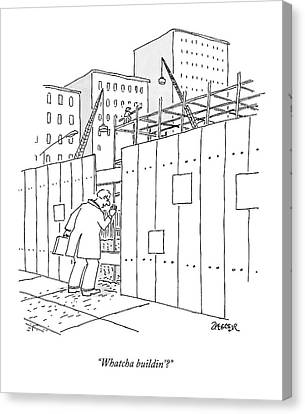 Construction Canvas Print - A Man With A Briefcase Looks Downwards by Jack Ziegler
