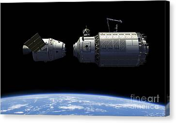 A Manned Reusable Crew Capsule Docks Canvas Print by Walter Myers