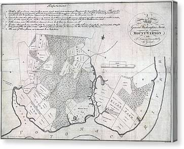 A Map Of General Washingtons Farm Canvas Print by Everett