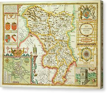 A Map Of The County Of Derbyshire Canvas Print