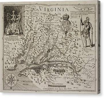 A Map Of Virginia Canvas Print by British Library