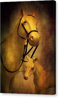 A Mare And Her Colt Canvas Print by Thomas Woolworth
