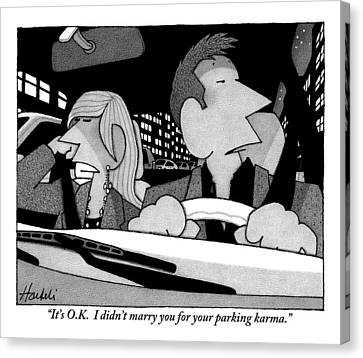 A Married Couple Are Seen In The Front Seats Canvas Print