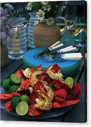 A Meal With Lobster And Limes Canvas Print