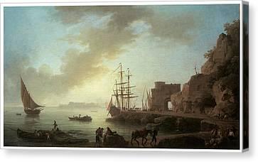 A Mediterranean Port At Dawn Canvas Print by Claude-Joesph Vernet