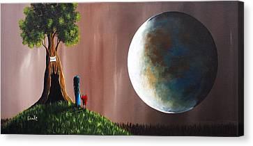 Big Moon Canvas Print - A Memory She Once Knew Original Artwork by Shawna Erback