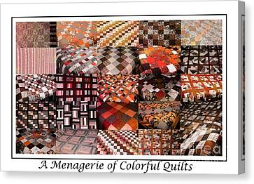 Homemade Quilts Canvas Print - A Menagerie Of Colorful Quilts -  Autumn Colors - Quilter by Barbara Griffin