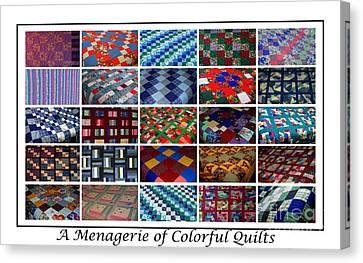 Homemade Quilts Canvas Print - A Menagerie Of Colorful Quilts  by Barbara Griffin