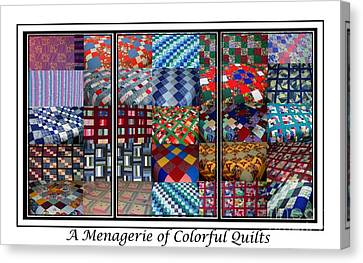 Homemade Quilts Canvas Print - A Menagerie Of Colorful Quilts Triptych by Barbara Griffin