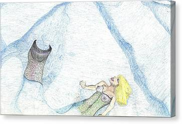 Canvas Print featuring the drawing A Mermaids Moment by Kim Pate