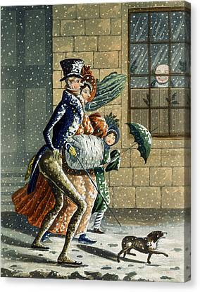 Walking The Dog Canvas Print - A Merry Christmas And Happy New Year by W Summers