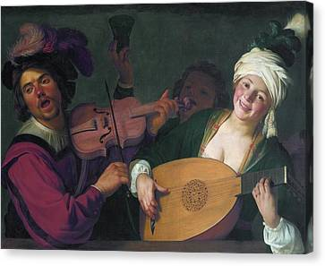 A Merry Group Behind A Balustrade With A Violin And A Lute Player Canvas Print by Gerard van Honthorst