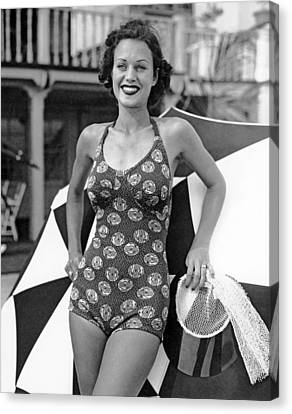 A Miami Logo Bathing Suit Canvas Print by Underwood & Underwood
