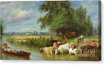 A Midsummer's Day On The Thames  Canvas Print by Basil Bradley
