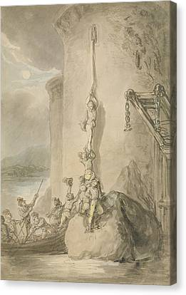 A Military Escapade, C.1794 Pen & Ink With Wc And Wash Over Graphite On Paper Canvas Print by Thomas Rowlandson
