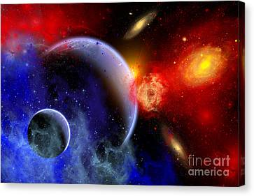 A Mixture Of Colorful Stars, Planets Canvas Print by Mark Stevenson