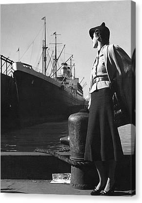 A Model At A Port Canvas Print by Toni Frissell