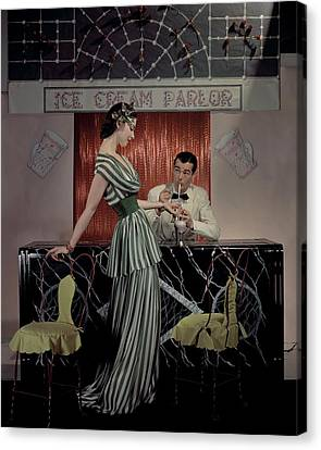 A Model At An Ice Cream Parlor Canvas Print by John Rawlings