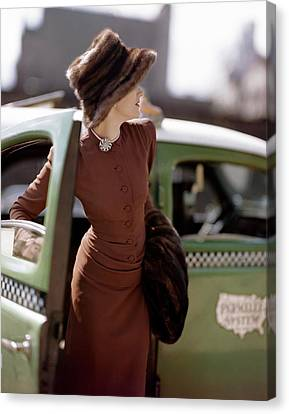 Automobile Canvas Print - A Model Getting Out Of A Cab by Constantin Joffe