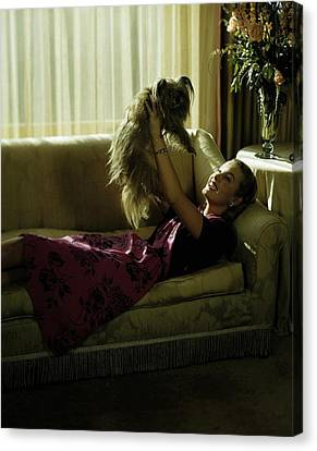A Model Holding A Dog Canvas Print by Constantin Joff?