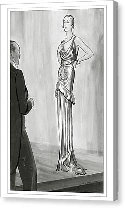A Model In A Lanvin Gown Canvas Print by Ren? Bou?t-Willaumez
