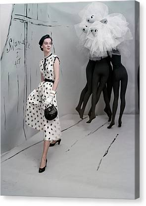 A Model In A Mollie Parnis Dress Canvas Print