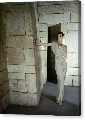 A Model In A Omar Kiam Dress Canvas Print by John Rawlings