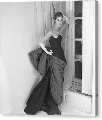 A Model In A Schiaparelli Dress Canvas Print by Henry Clarke