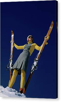A Model In A Ski Suit Canvas Print by Toni Frissell