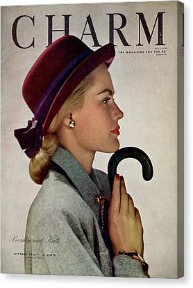 Gold Earrings Canvas Print - A Model In A Vic-deb Derby Hat by Hal Reiff