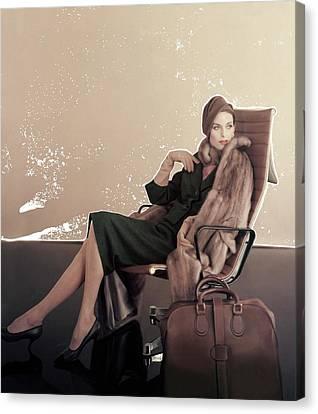 A Model In An Eames Chair Canvas Print